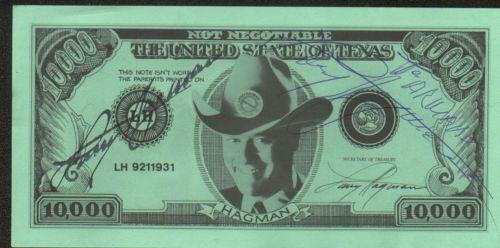 un dollar dédicacé par Larry Hagman